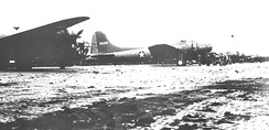 LB-30 and B-17E of the 36th Bombardment Squadron at Unmnak (Fort Glenn AAF), June 1942. The B-17E (41–9126) was lost on 28 August 1942