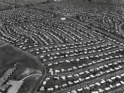 Aerial view of Levittown, Pennsylvania circa 1959