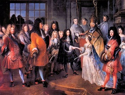 Child marriage in 1697 of Marie Adélaïde of Savoy, age 12 to Louis, heir apparent of France age 15. The marriage created a political alliance.