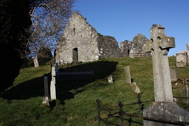 Three ruined ancient churches on the island in the lake