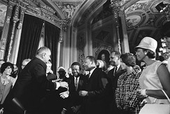 President Johnson, Martin Luther King Jr. at the signing of the Voting Rights Act on August 6, 1965