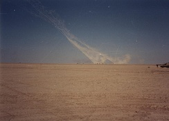 M270 Multiple Launch Rocket Systems attack Iraqi positions during the 1st Gulf War, February 1991.