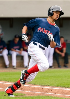 Betts playing for the Pawtucket Red Sox in 2014