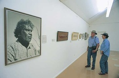 Picture of Albert Namatjira at the Albert Namatjira Gallery, Alice Springs. Aboriginal art and artists became increasingly prominent in Australian cultural life during the second half of the 20th century.