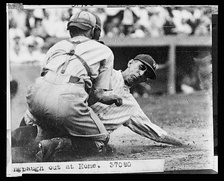 Peckinpaugh tagged out at home in the mid-1920s