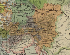 Map of the County of Tyrol and the Austrian Circle during the 15th century