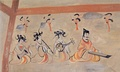 An early depiction of pipa player in a group of musicians. From the Dingjiazha Tomb No. 5, period of the Northern Wei (384-441 A.D.)