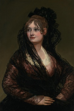 In Spain, some society ladies rebelled against French fashion by dressing as majas, like Doña Isabel de Porcel, 1805.