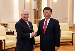 Secretary of State Rex Tillerson shakes hands with Chinese Communist Party general secretary Xi Jinping upon arrival in Beijing, 19 March 2017.