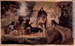 Depiction of the fur trade in 1662. The fur trade with the natives and the coureur des bois was a vital part of the settlement's early economy.