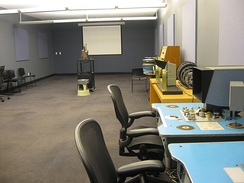 Screening room for the Reserve Film and Video collection; moviola and Steenbeck equipment is on the right