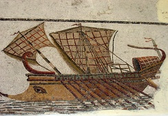 Mosaic of a Roman trireme in Tunisia