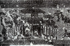 A rubbing of a Han pictorial stone showing an ancestral worship hall (citang 祠堂)