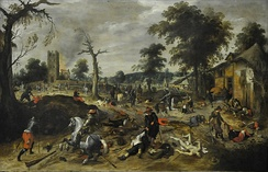 The aftermath of the plundering of the village of Wommelgem in 1589