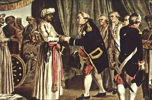 Admiral Suffren meeting with ally Hyder Ali in 1783. J. B. Morret engraving, 1789