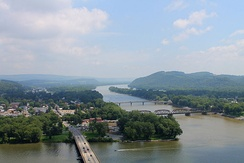 Susquehanna River from the Shikellamy State Park overlook, looking upriver. The West Branch Susquehanna River  is in the foreground.