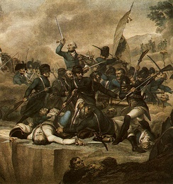 Suvorov and a Russian-Austrian army defeat the French at the Battle of Cassano on 27 April 1799 by Luigi Schiavonetti