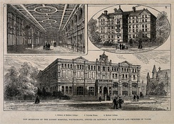 The London Hospital Medical College on a wood engraving of 1877
