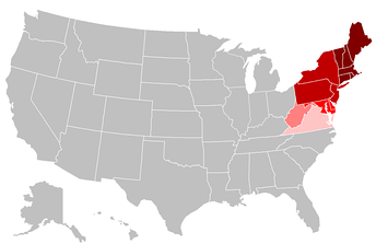 The states shown in the two darkest red shades are included in the United States Census Bureau Northeast Region. The Bureau subdivides the Northeast into:   New England   Middle Atlantic States in lighter shades are included in other regional definitions.