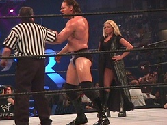Stratus as Val Venis' manager during the 2000 King of the Ring event
