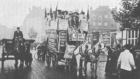 Members of the Women's Social and Political Union campaigning for women's suffrage in London, around 1910