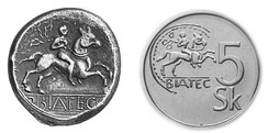 An original Biatec and its replica on a former 5-koruna coin