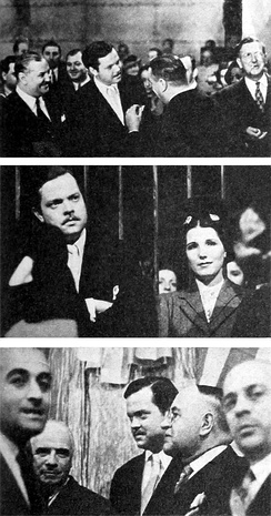 As a goodwill ambassador in 1942, Welles toured the Estudios San Miguel in Buenos Aires, meeting with Argentine film personalities including (center photograph) actress Libertad Lamarque.
