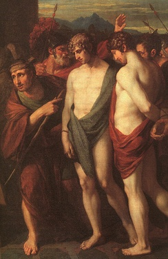 Benjamin West: Pylades and Orestes brought as victims to Iphigenia (1766), detail