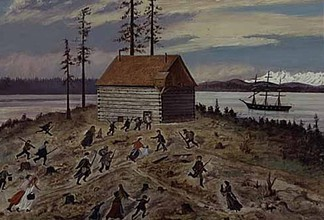 Seattleites evacuate to the town blockhouse as USS Decatur opens fire on advancing tribal forces.