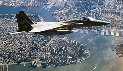 An F-15C Eagle from 102d Fighter Wing, Massachusetts Air National Guard, flies a Combat Air Patrol over New York City as part of Operation Noble Eagle. F-15s from the 102d were the first to arrive on scene over the World Trade Center following the 11 September 2001, terrorist attacks.