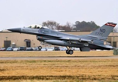 F-16A of the 178th FS takes off on a practice scramble[note 7]