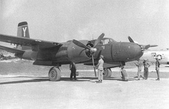 Eight gun nose A-26, 8th BS, 3rd BG Machinato Airfield, Okinawa 20 August 1945