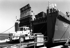 A British Scammell Commander 6x4 tractor truck leaves the Danish cargo ship Dana Cimbria during Operation Desert Shield.JPEG