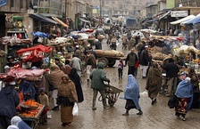 A bustling market street in central Kabul, 2009