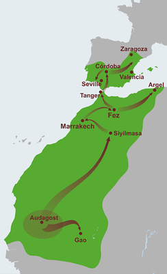 The Almoravid empire at its height stretched from the city of Aoudaghost to the Zaragoza in Al-Andalus