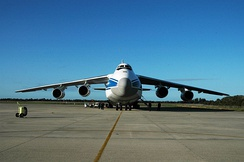 Front view of an Antonov An-124. The anhedral wings are clearly seen.