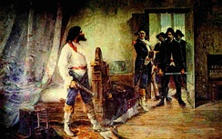 Painting showing the arrest of Tiradentes; he was sentenced to death for his involvement in the best known movement for independence in Colonial Brazil. Painting of 1914.