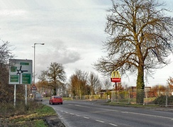 Approaching the Holdingham Roundabout from the former route