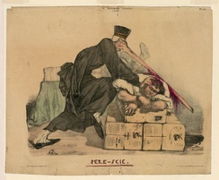 An 1832 cartoon depicting Persil attacking the editor of La Caricature with his huge saw-like nose
