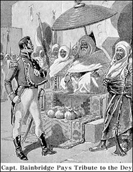 Captain William Bainbridge paying tribute to the Dey of Algiers, 1800