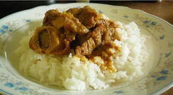 Meat curry with rice