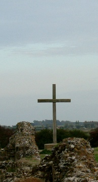 The modern cross at the high altar of the St Benet's Abbey ruins