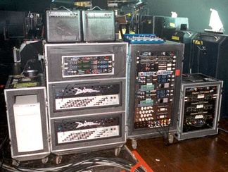 Photo of Billy Corgan's guitar rig taken by his guitar tech during one of the Smashing Pumpkins' live shows during their 200? tour.