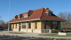 The visitor center for the Cardinal Greenway occupies the restored Cincinnati, Richmond, & Muncie Depot.