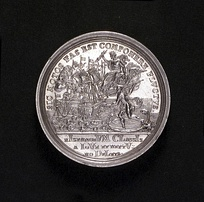 Medal commemorating the Battle made in 1718 - The Spanish fleet destroyed by Jupiter and Neptune The gods are symbolic of the Emperor (Charles VI) and the King (George I)