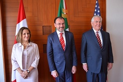 Chrystia Freeland, Luis Videgaray Caso and Rex Tillerson in Mexico City in 2018