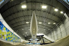 Concorde BOAC in its hangar at the Aviation Viewing Park.