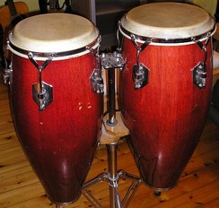 A pair of conga drums