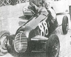 Ilario Bandini driving with Cisitalia D46 in 1947.