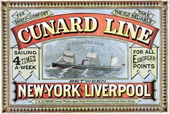 Cunard Line, from New York to Liverpool, from 1875